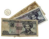 Cuban currency. Cuban banknotes and small change on white background Stock Photo