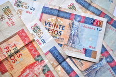 Cuban currency - convertible pesos bank notes detail, money close up Royalty Free Stock Photography