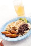 Cuban Dinner with Iced Tea Royalty Free Stock Photos