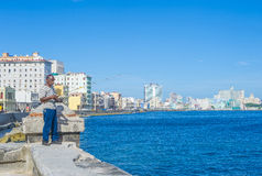 Cuban fisherman in Havana Stock Photos