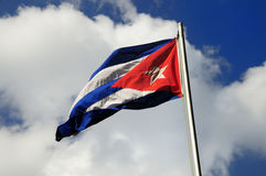 Cuban flag. Waving under blue sky background Stock Photo