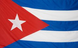 Cuban flag. Detail background, blue and white stripes and the red triangle with a white sta Stock Images