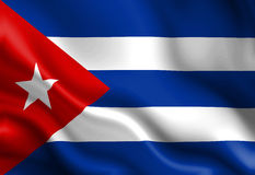 Cuban flag. Waving in the wind vector illustration