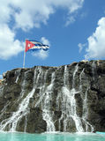 Cuban flag. On cascade Stock Image