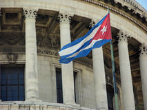 Cuban flag on the Capital building, Havana, Cuba.  Stock Images