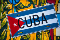 Cuban flag on colorful vibrant background. From above stock photo