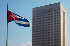 Cuban flag and a colossal hospital. Cuban flag and the Hermanos Ameijeiras hospital at the Malecón waterfront in La Havana, Cuba Royalty Free Stock Photos