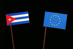Cuban flag with European Union EU flag isolated on black. Background Royalty Free Stock Images