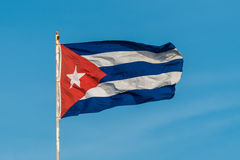 Cuban Flag. A Cuban flag flies high above the city of Havana Stock Photos