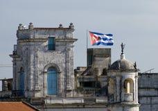 Cuban Flag flying high. The Cuban flag at full mast. Havana, Cuba Royalty Free Stock Image