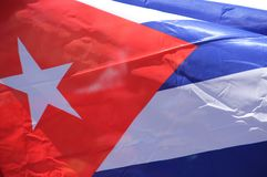 Cuban flag two. Cuban flag flying in the wind background royalty free stock photo