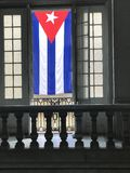 Cuban Flag. Frammed inside two window Stock Image