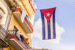 Cuban flag in Havana. Cuban flag on residentrial building in Havana Stock Image