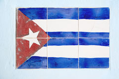 Cuban flag. Made of  ceramic tiles on the wall Royalty Free Stock Photo