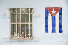 Cuban flag. Made of  ceramic tiles on the wall Stock Photo