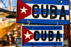 Cuban flag on metal plate. Red-blue-white Cuban flag on metal plate, Cuba, Republic of Cuba Stock Photography