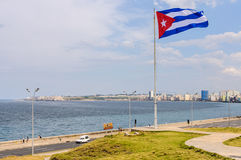 Cuban flag near Hotel Nacional in Havana, Cuba Royalty Free Stock Images