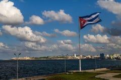 Cuban flag. Over El Malecon promenade, Havana royalty free stock photography