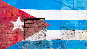 Cuban flag painted on an old wall in Havana. Cuban flag painted on a grunge old wall in Havana Stock Image