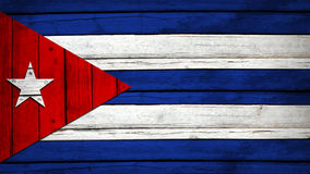 Cuban flag painted on wooden boards Stock Photography