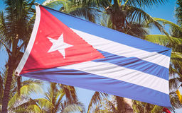Cuban Flag Among Palm Trees Stock Photos