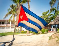 Cuban flag placed of the bike. Cuban flag placed in the back of the bike with gardens and beach background, during the sunny day stock images
