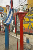 A Cuban flag shown in the Callejon de Hamel art and music district of Havana Cuba Royalty Free Stock Image