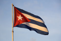 Cuban Flag. Striped Cuban Flag during sunrise Stock Photo