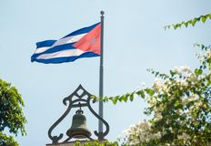 Cuban Flag Waving in Blue Sky Stock Photography