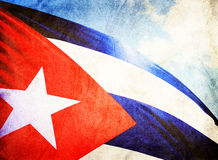 Cuban flag waving in the wind. Grunge style Stock Photography