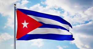 Cuban flag waving in the wind shows cuba symbol of patriotism - 4k 3d render. Cuban flag waving in the wind shows cuba symbol of patriotism. Flagpole with stock video