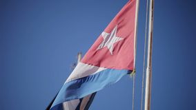 Cuban flag at windy day stock video