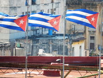 CUBAN FLAGS ON A BUILDING IN HAVANA, CUBA Stock Photo