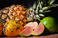Cuban fruits, mango, guava and pineapple Royalty Free Stock Images