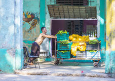 A Cuban fruits seller Royalty Free Stock Images