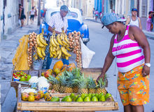 A Cuban fruits seller Royalty Free Stock Image