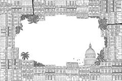 Cuban houses text frame. Greeting card frame with hand drawn Cuban houses of Havana Royalty Free Illustration