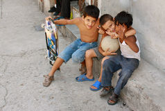 Cuban Kids. Having fun on street in Havana royalty free stock photography