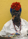 Cuban lady with cigar, Havana, Cuba Royalty Free Stock Photography