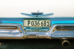 Cuban license plate on Ford Fairlane Stock Photos