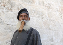 Cuban Man smoking cigar Royalty Free Stock Image