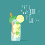 Cuban mojito coctail vector illustration. Concept design for travel to Cuba with traditional alcoholic drink vector illustration