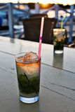 Cuban Mojito at dusk, taken in Cayo Largo Royalty Free Stock Photo