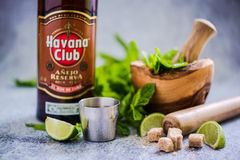 Cuban Mojito with Havana Club rum. Royalty Free Stock Images
