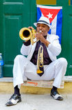 Cuban musician playing the trumpet in Old Havana Royalty Free Stock Image