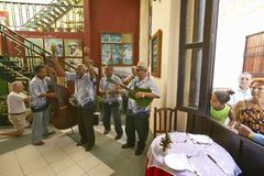 Cuban musicians performing in restaurant of Old Havana, Cuba Royalty Free Stock Image