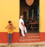 Cuban Musicians Playing & Practicing at a Havana Restaurant Stock Photos