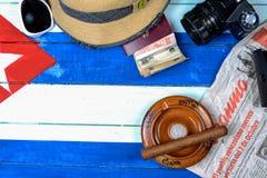 Cuban national background. Cuban vintage items on national flag background Stock Photos