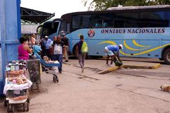 Cuban national bus `Omnibus Nacionales`. Offering transportation only to Cuban residents holding national identification, parked at a bus station in Cuba Stock Photo