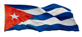 The Cuban National Flag isolated on white. With clipping path Stock Image